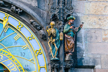 Prague astronomical clock, close up. Czech gothic architecture, famous medieval astrological clock.