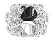 Cygnes noir et blanc devant un kaléidoscope - 184528352