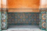 colorful ornamental tiles at moroccan courtyard - 184528756