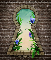 Fantastic bizarre fabulous keyhole in  brick wall  in  whimsical garden fairy tale Wonderland.