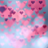 Beautiful blurry heart symbols on abstract bokeh illustration background with place for text. - 184533990