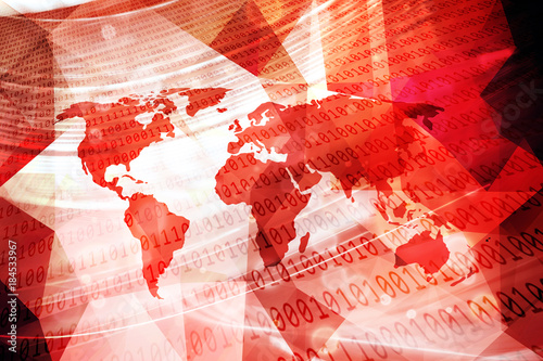 Aluminium Wereldkaarten Red colored abstract world map with computer binary numbers illustration background.