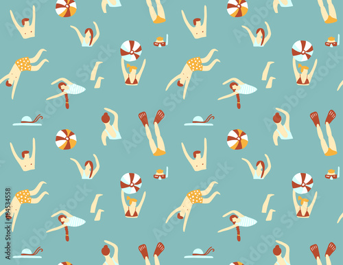 Cotton fabric Summer seamless pattern. People swimming in the sea. Vector illustration with swimmers.