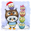 Cute Cartoon Penguin and five Owls - 184535723