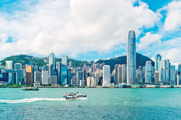 Victoria harbour, Hong Kong skyline