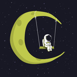 Cute astronaut sits on swing in space.Character design.Childish vector illustration