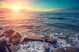 Rocky seashore in evening