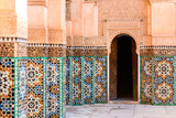 colorful ornamental tiles at moroccan courtyard - 184540589