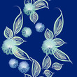 Seamless floral pattern on a blue background imitation of watercolor  - 184545702