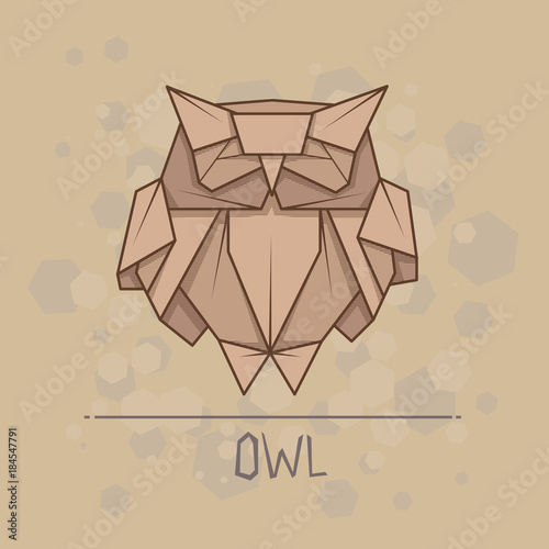 Keuken foto achterwand Uilen cartoon Vector illustration paper origami of owl.
