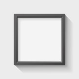 Realistic empty black frame on light background, border for your creative project, vector design object - 184547928