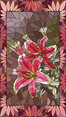 Vector illustration of couple pink lilies.