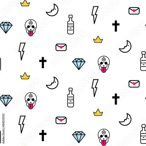 66de50c75e6a9 Doodle hipster lightning, skull eye and diamond seamless vector pattern.  Simple outline tattoo style
