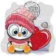 Cute Cartoon Penguin in a knitted cap - 184556513