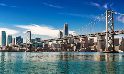 Downtown San Francisco and Oakland Bay Bridge on sunny day