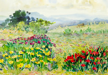 "Постер, картина, фотообои ""Watercolor painting landscape colorful of wildflowers, cottage in meadow"""