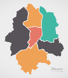 Munster Map with boroughs and modern round shapes - 184560964