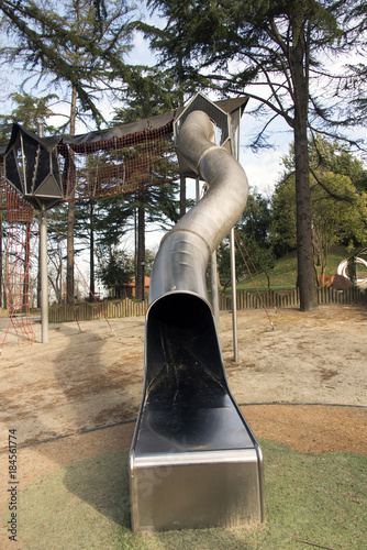 Fotobehang Amusementspark A slide and and a playground fro kids in the park in Istanbul