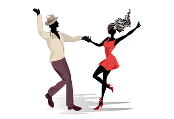 Romantic couple in passionate Latin American dances. Salsa festival. Hand drawn poster background.