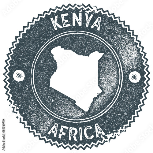 Kenya map vintage stamp. Retro style handmade label, badge or element for travel souvenirs. Dark blue rubber stamp with country map silhouette. Vector illustration.