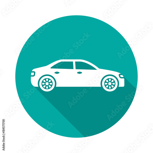 Foto op Canvas Groene koraal Car circle icon with long shadow. Flat design style. Car simple silhouette. Modern, minimalist, round icon in stylish colors. Web site page and mobile app design vector element.