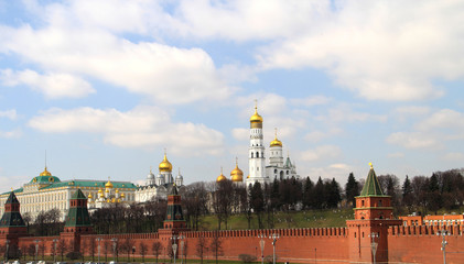 a view of the temples and towers of the Moscow Kremlin