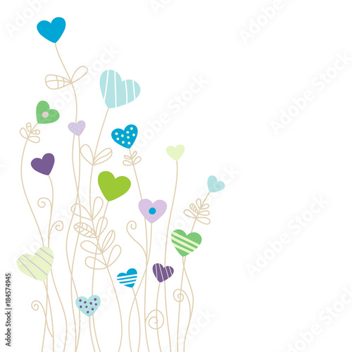 Heartflower Background Corner Blue - 184574945
