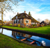 Canal in Giethoorn at sunny  winter morning, Netherlands. - 184580731