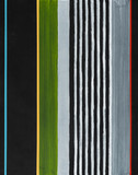 An abstract painting; stripes on a black background. - 184584789