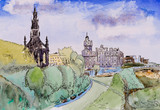 A pen and ink sketch of central Edinburgh. - 184585103
