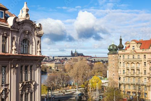 In de dag Praag Facade de batiments de la ville de Prague, Bohême, République tchèque, Europe