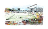 Watercolor painting with splash and sketch of Stadium in Barcelona, Spain in vector illustration.