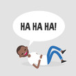 Rolling on the floor laughing. Conceptual illustration. Young black character having fun. Humor. Flat editable vector illustration, clip art