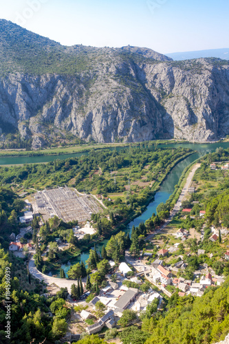 Foto op Canvas Wit Omish, Croatia, panorama, the Cetina river basin in the sea