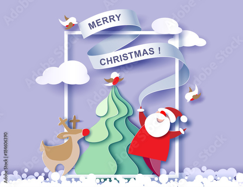 In de dag Purper Color paper cut design and craft winter landscape with evergreen tree, reindeer, Santa, clouds. Holiday nature and christmas tree. Vector illustration. Merry Christmas card.