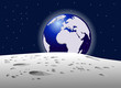 Вид на планету земля с луны, векторная иллюстрация - 184621961