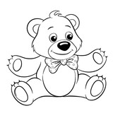 Cute cartoon bear. Vector black and white vector illustration for coloring book - 184624949