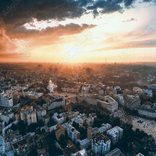 Poster Kiev Beautiful panoramic view of the city of Kiev. Aerial view of St. Michael's Golden-Domed Monastery and Sophia Cathedral in the sunset. Ukraine
