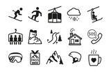 Fototapety Ski resort icons black silhouettes
