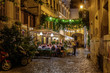 Quadro Night view of old street in Trastevere in Rome, Italy