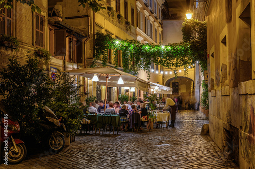 Night view of old street in Trastevere in Rome, Italy - 184633116