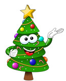 xmas christmas tree mascot character presenting isolated - 184633588