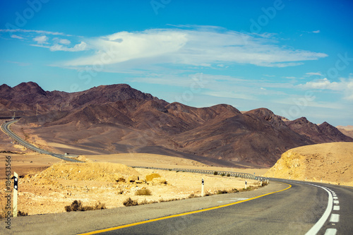 Mountain road in desert
