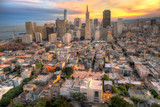 Spectacular Aerial View of the San Francisco Skyline at Sunset, including the new Salesforce tower.