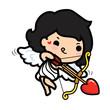 Happy Valentine's day , Cute cartoon Cupid girl shooting arrow heart - 184638109