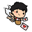 Happy Valentine's day , Cute cartoon Cupid boy sending love letters - 184638129