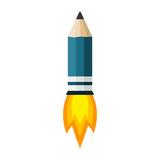Rocket Pencil  Fire  Illustration Wall Sticker