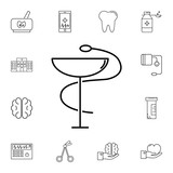 medical snake symbol line icon. Set of medicine tools icons. Web Icons Premium quality graphic design. Signs, outline symbols collection, simple icons for websites, web design - 184646180