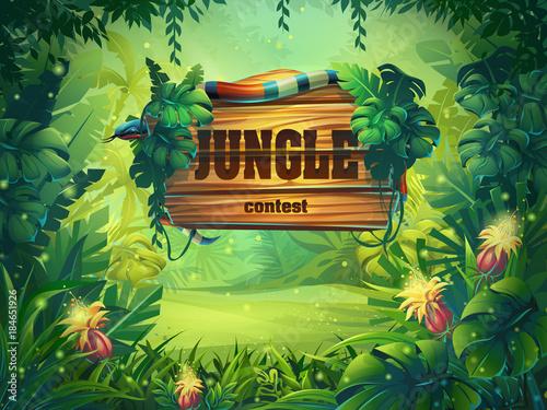 Vector cartoon illustration of background rainforest