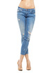 Slim and sexy female legs in jeans isolated on white.